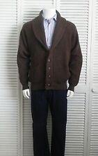 NEW Mens SIZE XXL 2XL ALPACA Dark Brown Ribbed Shawl Collar Cardigan Sweater