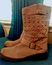 ALPE Western Boots Brown Suede with Star Studs Women's 40