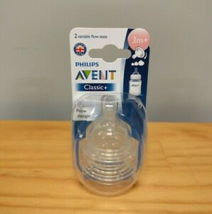 New Philips Avent Classic+ 2 Variable Flow Teats 3m+