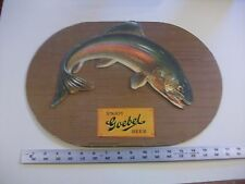 Vintage Goebel Beer Detroit Mi Cardboard Advertising Sign Rainbow Trout 12 X 18""