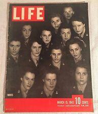 LIFE MAGAZINE MARCH 15 1943 WWII NAVY WAVES WAACS OKLAHOMA BATTLE OF SENED