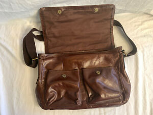 EUC Men's Fossil Brown Leather Messenger Computer Strap Shoulder Bag