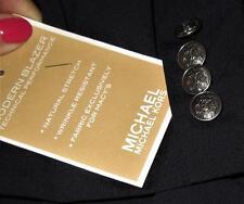 4 Michael Kors 100% AUTH Silver Blazer Crest Shield BUTTONS Blazer CUFF Buttons