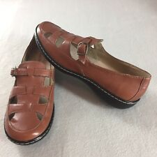 Hush Puppies Wharf Shoes Brown Leather Flats Adjustable Strap H59738 Women 9.5 M