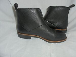 CLARKS WOMEN BLACK LEATHER ZIP UP ANKLE BOOT SIZE UK 5.5 EU 39 VGC