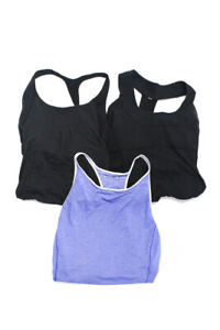 Lululemon Womens Nylon Racerback Tank Tops Purple Black Size 8 Lot 3