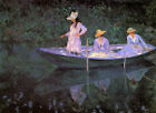 "MONET - La Barque at Giverny - *FRAMED* CANVAS ART 16""X 12"""