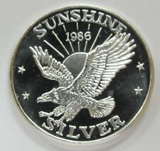 1986 Sunshine Mining 1oz. .999 Fine Silver Art Round - *Proof Like