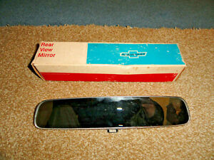"58-62 CHEVY PASS. NOS? 10"" INSIDE NON-GLARE DAY NIGHT REAR VIEW MIRROR W/BOX"