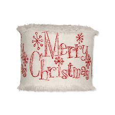 Ribbon Cream Cotton Red Merry Christmas Motif 45mm x 3m Roll