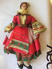 1950s Vintage Collectible Redhead Canvas Doll Gypsy Euro European Antique Unique