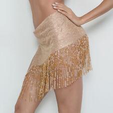 Sexy Club Party Bling Sequin Metal Crystal Tassel Fringe Sides Split Mini Skirts