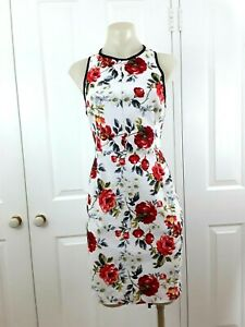Orange white floral black trim sleeveless stretch fitted sheath dress size 12