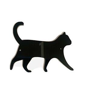 Cat Walking Door House Number Sign Plaques in Black