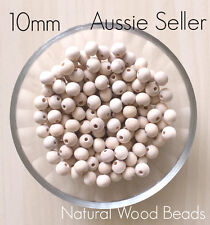 BULK 100x Natural Wood 10mm beads round unfinished raw baby teething jewellery