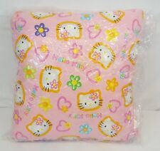 """Vintage 2000 Sanrio HELLO KITTY FACE Pink Flowers 17"""" Square Cushion Rare NEW"""