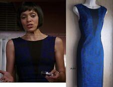 NewWT Karen Millen Blue Black Brocade Floral Print Bodycon Dress Dr123 UK 12