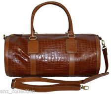 Tan Duffle Barrel Weekend Holdall Sports Travel Gym Croc Print Real Leather Bag