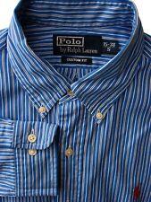 RALPH LAUREN POLO Shirt Mens 15 S Blue - Black & White Stripes CUSTOM FIT