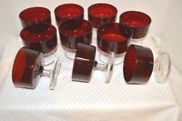 10pc Ruby Red Clear Stem Arcoroc France Sherbet Dessert Champagne Goblet Compote