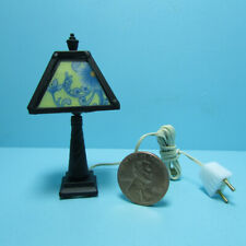 Dollhouse Miniature Tiffany Style Lamp Shade with Black Base 12v Electric MH1046