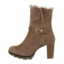 Damen High Heels Stiefel Stiefeletten in Wildleder Optik mit Kunstfell 37