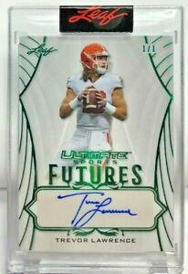 Trevor Lawrence 2021 Leaf Ultimate Sports Futures Emerald Autograph Auto #'d 1/1
