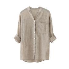 Women Oversized Loose Casual Long Sleeve Tops Linen Shirt Ladies Blouse T-shirt Gray 2xl