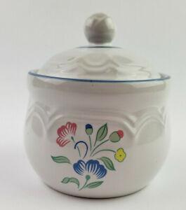 Floral Expressions Stoneware Covered Sugar Bowl Jar Floral Print Blue Trim Japan