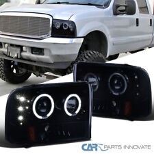 Glossy Black Fit 99-04 F250 F350 F450 Super Duty LED Halo Projector Headlights