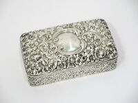 5.25 in - Sterling Silver Gilt Interior Gorham Antique Floral Repousse Box