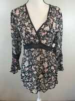 DCC Missy Women's Size XL Top Floral Bell Sleeve Tie Back V Neck Blouse Shirt