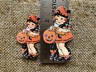 Vintage Repro Girl, Witch Doll, JOL Halloween Cardstock Decoration,U Choose Size