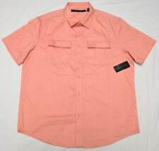 Sean John Button Down Shirt Men Size XL Velcro 2-Pocket Woven Coral Orange P054