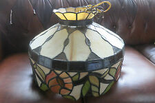 VINTAGE STUNNING SLAG / STAINED GLASS HANGING DOME FIXTURE LIGHT LAMP