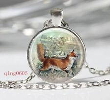 Vintage fox Cabochon Tibetan silver Glass Chain Pendant Necklace #F02