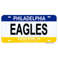 Super Bowl LII Champions 2018 Philadelphia Eagles Aluminum License Plate