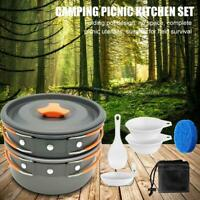 Camping Cookware Mess Kit Backpacking Camping Gear Pots and Pans Set for Outdoor