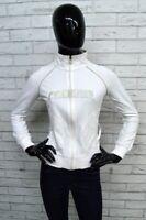 Felpa CHAMPION Donna Taglia S SweatShirt Maglione Pullover Elastica Bianco Zip