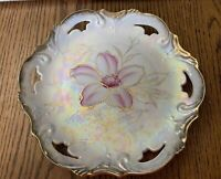 """Vintage Floral 8"""" Plate Pearl Iridescent Gold Trim Decorative Collectable"""