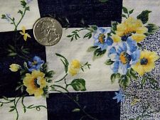 "Vtg Marcus Brothers Yellow Blue Floral Indigo Check Linen Crepe Fabric 44"" BTY"