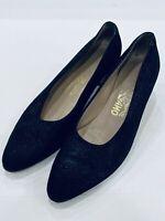 Salvatore Ferragamo Sz 7.5 Black Heel Leather Made In Italy Shoes