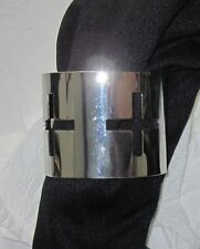 BLOGGER Armreif Armband Metall H&M silber Alufarben Glanz Kreuz Kreuze NEU M L