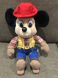 MICKEY MOUSE Cowboy Disney Plush Soft Toy VINTAGE 1980s RARE COLLECTABLE