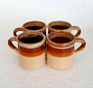 Vintage Set of 4 Brown Stripes Stoneware Mugs - Made in Japan