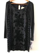 SUNDANCE CATALOG by HALE BOB EBONY ROSE Black VELVET  Dress MEDIUM Orig $198 NWT