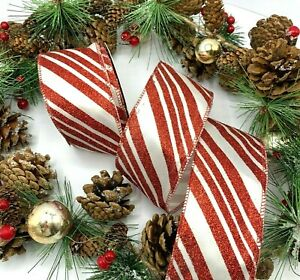 """2.5"""" wire edge candy stripe ribbon cane Christmas xmas bow wreath BY THE METRE"""