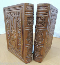 """Vintage Pair of Wooden Great Books Library Bookends 9"""" tall"""
