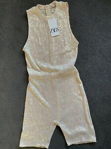 ZARA Sequinned Playsuit All in One Size S Party Disco 80s Festival Bloggers