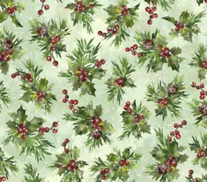 Hoffman Winter Wonder Christmas Holly Berry Cotton Quilt Fabric by the HALF Yard